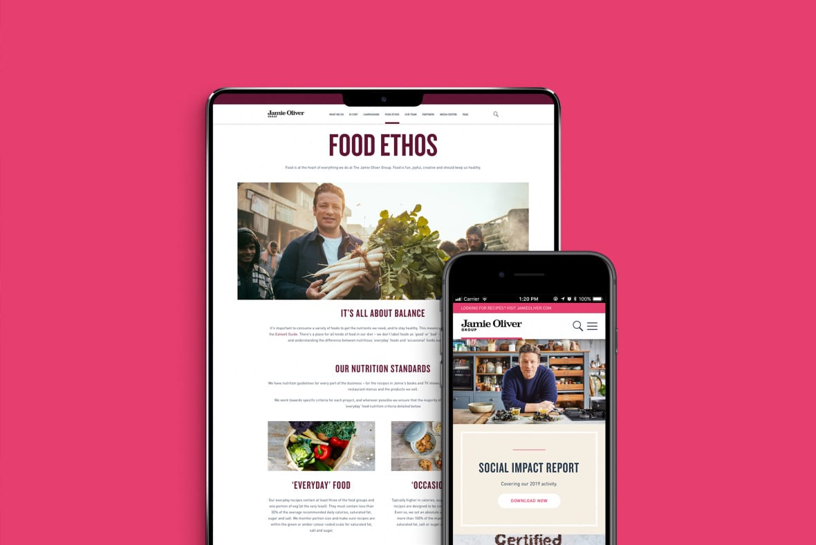 Jamie Oliver mobile site - Food ethos