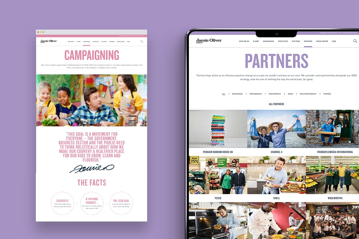 Jamie Oliver mobile site - Campaigning and Partners
