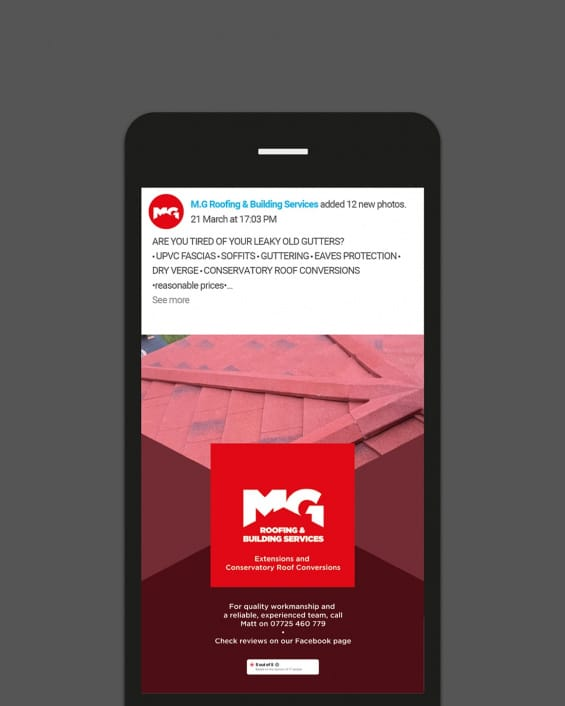 MG Roofing - Instagram example