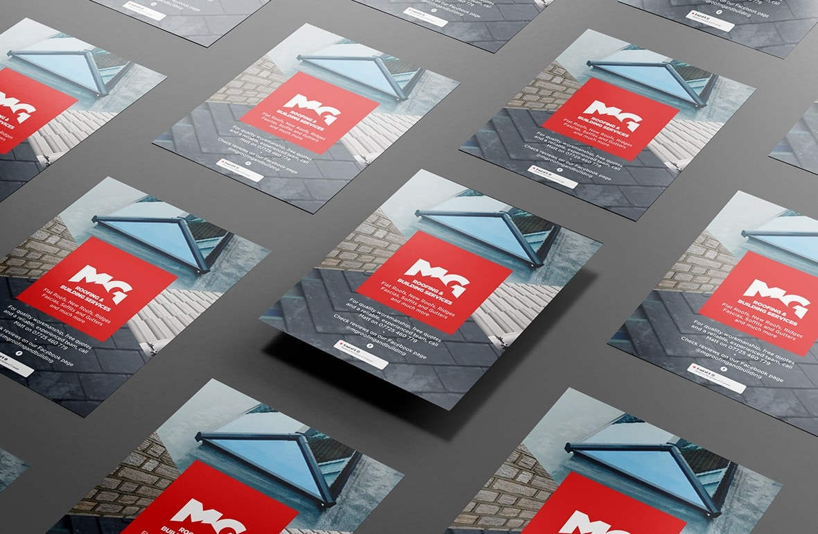 MG Roofing branded flyer mockups